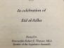 PCA's Participation in Eid-Ul-Adha Celebration at the Alberta Legislature on November 6, 2017