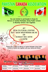 Monthly Seniors Program and Dua for Peshawar Victims @ PCA Cultural Centre | Calgary | Alberta | Canada