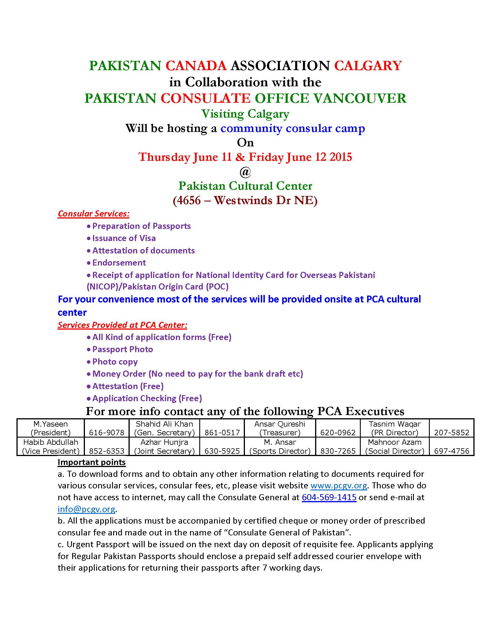 PCA Consular Camp Visit on June 11th and 12th, 2015