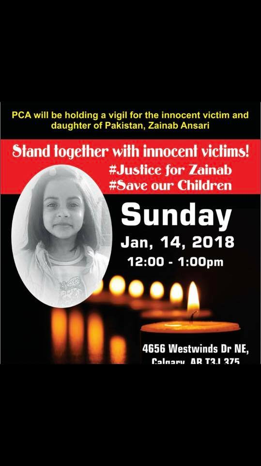 PCA Vigil for Innocent Zainab in January 2018