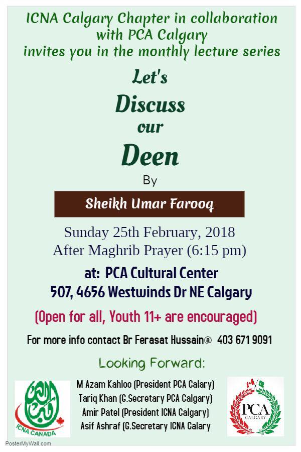 "PCA's Monthly Event ""Let's Discuss our Deen""! in February 2018"