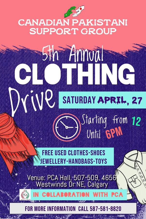 PCA & CPSG's Annual Clothing drive! April 27, 2019