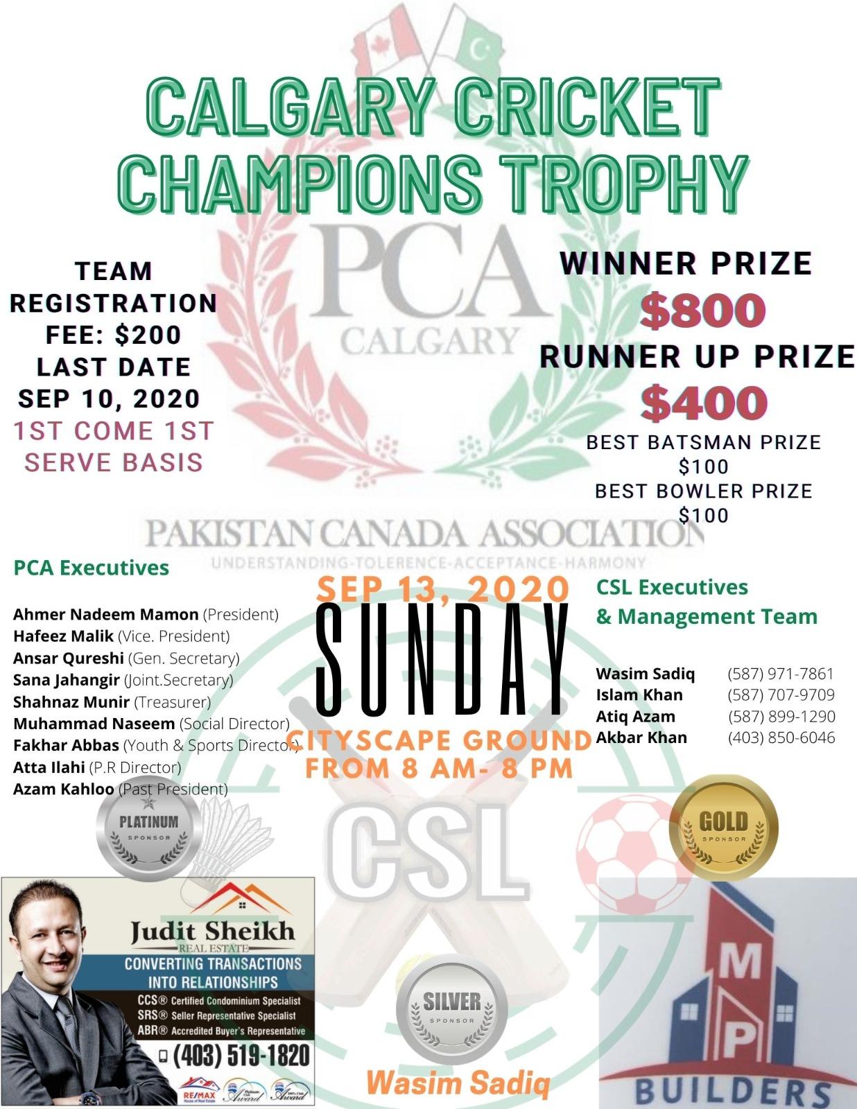 PCA & CSL Calgary Cricket Championship